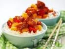 Рецепта Бял ориз с хапки от пилешко месо, ананас и червени камби по китайски (азиатски)